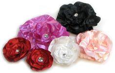 Satin Fabric Flower Tutorial II -- Large Peony And Organza Rose                                 satin-fabric-hair-flower-tutorials-1