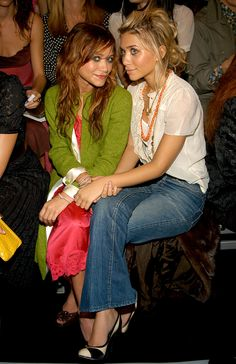 A round up of Mary-Kate and Ashley Olsen's best fashions throughout the years | at the Marc Jacobs fashion show in 2004