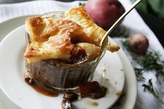 Steak and Stout Pie - Crockpot recipe with cheaty store-bought puff pastry. I approve.