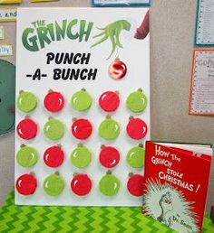 Who doesn't love the Grinch? It's a Christmas classic! This year I am doing a Gr. - Who doesn't love the Grinch? It's a Christmas classic! This year I am doing a Grinch themed Who - School Christmas Party, Grinch Christmas Party, Christmas Carnival, Christmas Party Themes, Preschool Christmas, Xmas Party, Office Christmas Party Games, Whoville Christmas Decorations, Christmas Party Games For Kids