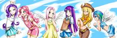 Twilight, Rarity, Fluttershy, Applejack, Rainbow Dash, and Pinkie Pie