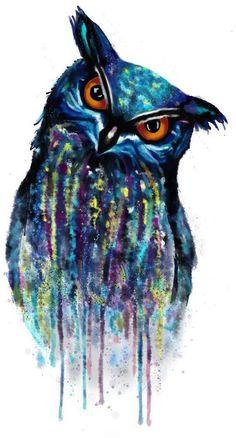 Watercolor owl tattoo plan. More pictures: http://wacom.tg-art.fotoalbum.hu/