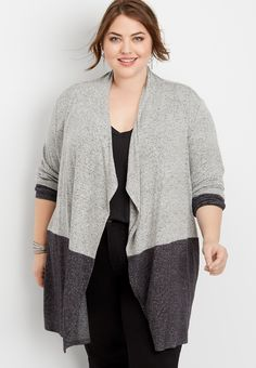 Maurices Plus Size Womens Colorblock Open Front Cardigan Gray - Size 1 Maurices Plus Size, Plus Size Fall Outfit, Open Front Cardigan, Color Blocking, Fall Outfits, Fitness Models, Kimono Top, Tunic Tops, My Style