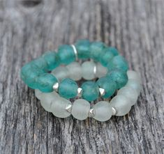 Holiday Style! Glass trade beads in ICE WHITE or TURQUOISE with silver-plated artisan accent beads. Each bracelet $34. Select COLOR at checkout. Bracelets comfortably fit up to size 7 wrist. Enjoy FREE SHIPPING! ~~~~~~~~ To see the full collection of Bead Rustic jewelry, please click