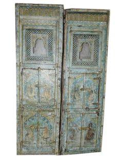 Antique Jaipur Jharoka Hand Carved Blue Patina Doors Indian Furniture by Mogul Interior, http://www.amazon.com/dp/B00C9UVNDC/ref=cm_sw_r_pi_dp_NywQrb0Z3A5SZ