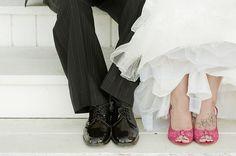 pink black white shoes wedding