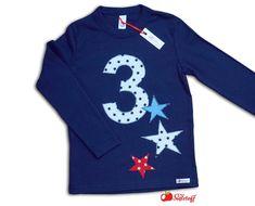 Langarmshirts - Geburtstagsshirt, Zahlenshirt, Zahl, Name, Stern - ein Designerstück von mein-suessstoff bei DaWanda