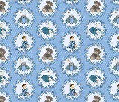Bedtime Prayers (boy blue) fabric by shellypenko on Spoonflower - custom fabric