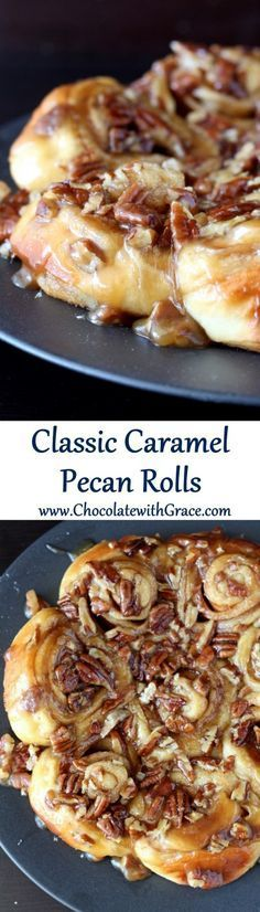 Classic Caramel Pecan Rolls - Soft cinnamon rolls covered in a sweet brown sugar, pecan topping - Thanksgiving bread recipes Pecan Sticky Buns, Pecan Rolls, Sticky Rolls, Brunch Recipes, Sweet Recipes, Dessert Recipes, Frosting Recipes, Baking Recipes, Bread Recipes