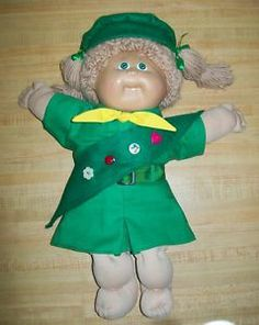 "for 16/"" CPK Cabbage Patch BROWNIE GIRL SCOUT OUTFIT VNTG shirt skirt hat sash+"