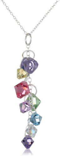 Sparkling bicone beads of multi-color Swarovski crystal are clustered along a sterling silver chain to create this alluring drop pendant. Could do with kid's birthstones!