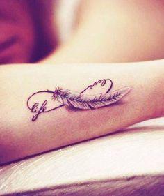 Life,love infinity and feather tattoo  #TattooModels #tattoo