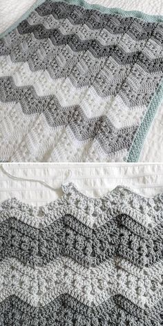 Kid Blanket by Jessica McLean - Crochet Chevron, Ripples and Zigzags - There are no rules to color changes or color schemes, and this beautiful blanket by Jessica proves - Crochet Stitches For Blankets, Crochet Baby Blanket Free Pattern, Crochet Stitches Patterns, Baby Afghan Patterns, Crocheted Baby Afghans, Simple Crochet Blanket, Chevron Crochet Blanket Pattern, Mode Crochet, Crochet Ripple