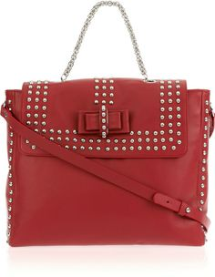 Christian Louboutin Red Sweet Charity Studded Leather Bag