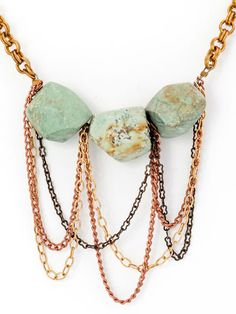 Three turquoise nuggets with vintage chains.19 1/2 inches long