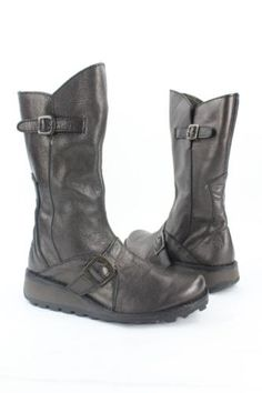 NEW Fly London Mes Black Leather Zip Up Mid Calf Boot Womens Size 37EU
