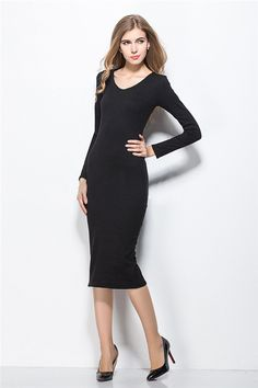 Autumn Dresses Women Clothing Casual Sexy Long Sleeve Bodycon Black Knit Plus Size Dress XXL Vintage Vestidos Femininos FC0074 - http://www.styliate.me/http://www.styliate.com/products/autumn-dresses-women-clothing-casual-sexy-long-sleeve-bodycon-black-knit-plus-size-dress-xxl-vintage-vestidos-femininos-fc0074/