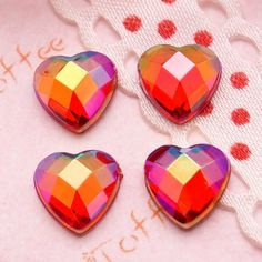 2pcs 28mm Multi-Faceted Flower Acrylic Flatback Cabochons Decoden Embellishments