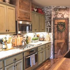 Love the idea of this brick kitchen, but leave the pantry natural brick and a different colored cabinet!!