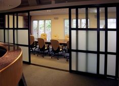 Sliding room dividers. Clear on top panel, opaque mid-panel, not so breakable…