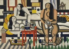 This painting represents a group of three reclining nudes drinking tea or coffee in a chic apartment. While the reclining nude is a common subject in art history, these women's bodies have been simplified into rounded and dislocated forms, their skin not soft but firm, buffed, and polished.