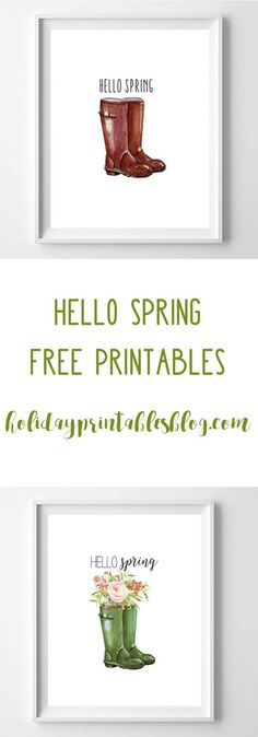 hello spring free printables | Wellington boot, Hello spring and Free printables