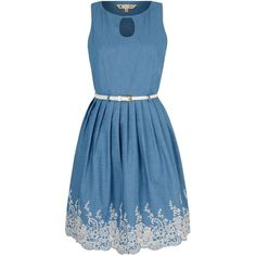 Yumi Broderie Anglaise Chambray Dress ($83) ❤ liked on Polyvore featuring dresses, blue, women, knee-length dresses, sleeveless dress, yumi dress, chambray shift dress and blue sleeveless dress