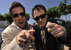 """Quentin Tarantino e Brad Pitt durante il photocall di """"Bastardi senza Gloria"""" al festival del cinema di Cannes, il 20 maggio 2009"""