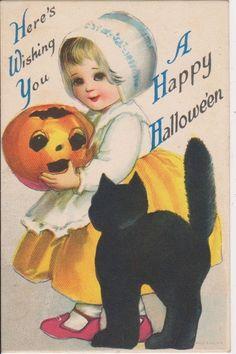 OLD HALLOWEEN VINTAGE POSTCARD - YOUNG GIRL HOLDS JACK-O-LANTERN- BLACK CAT-1921 #Halloween