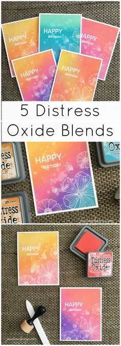 5 Favourite Distress Oxide Blends for vibrant, colourful birthday cards! Stamps from Create a Smile - In Bloom and Happy Days! Click for more information and video tutorial on my blog!