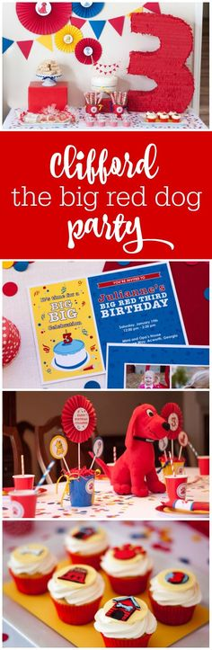 Guest Party: Big Red Third Birthday Party Clifford the Big Red Dog birthday party by Tickled Peach S Puppy Birthday, Baby Boy 1st Birthday, Third Birthday, 3rd Birthday Parties, Birthday Ideas, Party Guests, Red Dog, First Birthdays, Peach