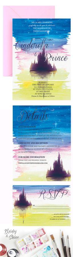 Fairytale Wedding Invitation- Disney inspired wedding stationery Fairytale Wedding Invitations, Watercolor Wedding Invitations, Printable Wedding Invitations, Wedding Invitation Suite, Wedding Stationery, Disney Inspired Wedding, Watercolor Artwork, Fairy Tales, Reception