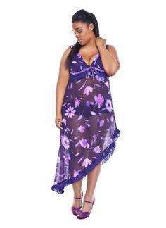 Sheer floral gown w/ assymetrical hem #gown #lingerie #www.moonlightserenadeapparel.com