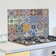 Kitchen Wall Panels, Kitchen Wall Decals, New Kitchen, Kitchen Decor, Kitchen Island, Tile Stairs, Unique Tile, Stick On Tiles, Kitchen Upgrades