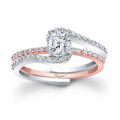 Rose Gold Bridal Set - 7907STW - This classic two tone rose and white gold interlocking diamond wedding ring set, features a prong set round diamond center. The white gold engagement ring is set with pave set diamonds and splits to allow the pave set rose gold diamond wedding band to slip into the engagement ring under the center.    Also available in rose or yellow gold, 18k and Platinum.