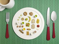 British set designer Sarah Parker and photographer Micheal Bodiam collaborated on a still life shoot revealing the Diets Behind Sporting Success. The creative duo graphically re-envision Olympian nutritionist Dan Benardot's diets for five star athletes. Creating oversize paper settings with miniature-looking real food products, each plate represent a specific diet.