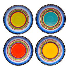 Shop for Certified International Tequila Sunrise Canape Plates, Set of Get free delivery On EVERYTHING* Overstock - Your Online Kitchen & Dining Outlet Store! Rustic Dinnerware, Melamine Dinnerware, Tableware, Kitchenware, Dinnerware Ideas, Tequila Sunrise, Dinner Plate Sets, Dinner Plates, How To Use Dishwasher