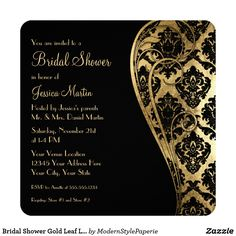 Bridal Shower Gold Leaf Look Damask Scroll Invite
