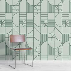 Green Abstract Geometric Lines Repeat Pattern Wallpaper
