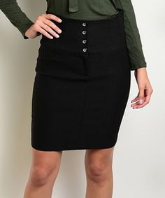 This Black Button-Front Pencil Skirt is perfect! #zulilyfinds