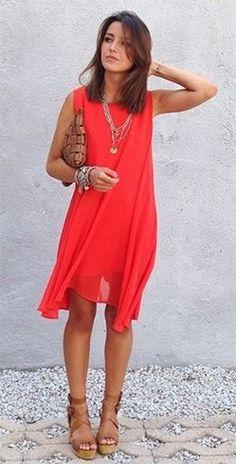 Classy Chiffon Dress in Orange . need a dressy orange dress. Looks Chic, Looks Style, Moda Fashion, Womens Fashion, Traje Casual, Cute Dresses, Summer Dresses, Mode Inspiration, Mode Style