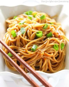 These Peanut Noodles are covered in a flavorful peanut sauce for a unique dish that will have your family begging for more. We eat pretty traditional food around here. Nothing too crazy. I love down