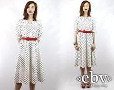 Vintage 80s White Polka Dot Midi Dress S M L White Midi by shopEBV, $40.00