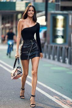 41b222a86 Sofia Resing in a sexy black Biker Style Leather Mini Biker Style, Mini  Skirt Dress