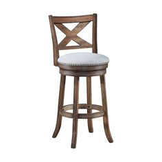 Elegant country style wooden bar stool with the chair back. Comes in an ash wood finish and grayish white fabric seat. Counter Height Bar Stools, 24 Bar Stools, Bar Counter, Bar Chairs, Dining Chairs, Farm House Bar Stools, Wooden Swivel Bar Stools, Bar Stools With Backs, Bar Furniture