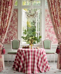 Red buffalo check fabric and toile, mint green chairs with red trim