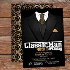 Classic Man Birthday Invitation available on Etsy! #30thbirthday #40thbirthday #50thbirthday Black Gold See this Instagram photo by @wooemdesign •