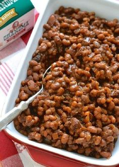 Homemade baked beans made in the slow-cooker for convenience. Very minimal prep, super easy to make Canned Baked Beans, Slow Cooker Baked Beans, Baked Beans With Bacon, Homemade Baked Beans, Baked Bean Recipes, Gf Recipes, Brunch Recipes, Slow Cooker Recipes, Cooking Recipes