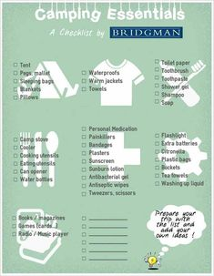 Camping Essentials Checklist from Bridgman - Prepare your next camping trip with this free printable checklist! Camping Essentials Checklist from Bridgman - Prepare your next camping trip with this free printable checklist! Camping Hacks, Camping Items, Camping List, Camping Supplies, Camping Checklist, Tent Camping, Camping Gear, Outdoor Camping, Glamping