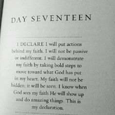 I declare... I will put actions behind my faith